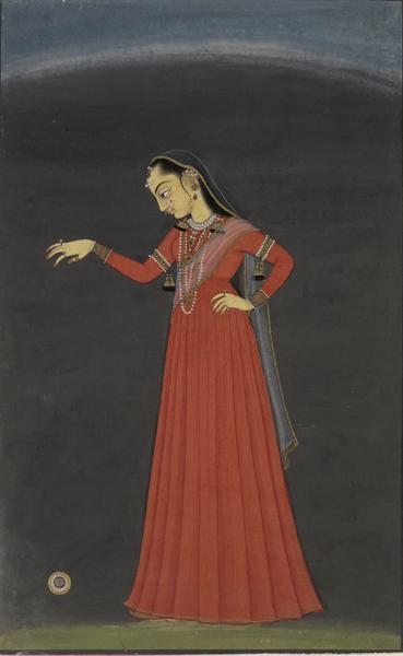 Unknown, Indian girl with yo-yo, Punjab Hills, India, c.1700, British Museum, London.