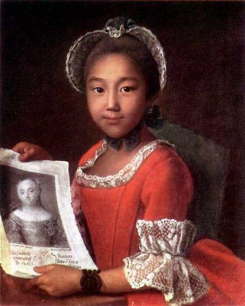 Ivan Argunov, Portrait of Kalmyk girl, 1767, The Russian Museum, St. Petersburg. Wiki Commons.
