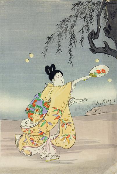 Toyohara Chikanobu, Girl by the Water with Fireflies, c.1890, British Museum.