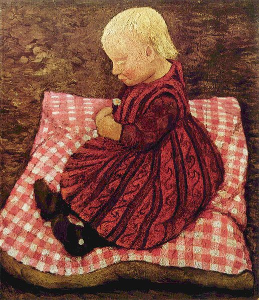 Paula Modersohn-Becker, Bauernkind auf rotgewürfeltem Kissen (Peasant Child on red-checked pillows), c.1904. Sammlung Ludwig Roselius, Bremen. Wiki Commons.