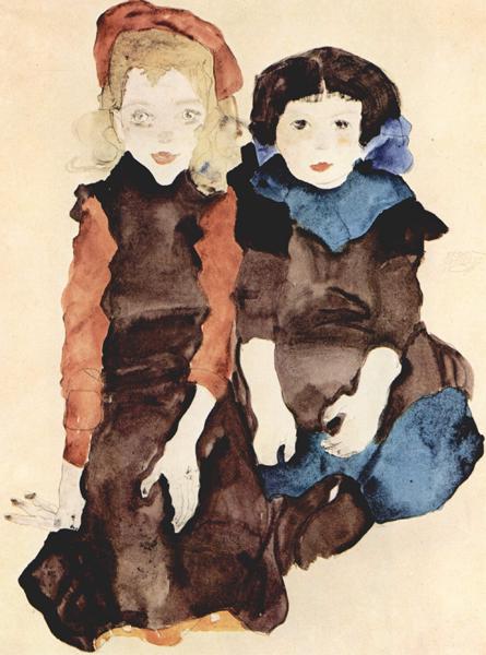 Egon Schiele, Zwei Klein Madchen (Two Young Girls), 1911, Graphische Sammlung der Albertina, Wein. Wiki Commons.
