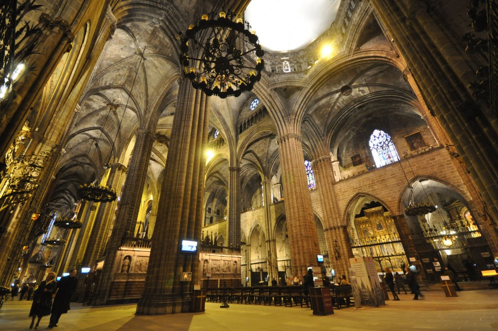 The Cathedral of the Holy Cross and Saint Eulalia (Barcelona Cathedral, interior view), 13th-15th century, WikiCommons.
