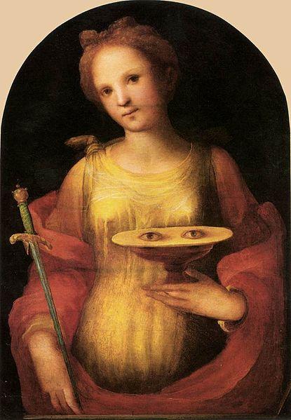 Saint Lucy, Domenico di Pace Beccafumi, 1521, Oil on panel, Pinacoteca Nazionale di Siena, Italy, WikiCommons.