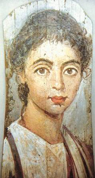 Unknown, Mummy portrait of young girl, c.220 CE, Antikensammlung, Berlin. Wiki Commons.