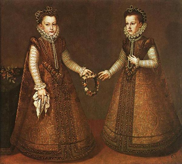 Alonso Sanchez Coello, Infanta Isabella Clara Eugenia of Spain and her younger sister Infanta Catalina Micaela of Spain, c. 1571, del Prado, Madrid. Wiki Commons.
