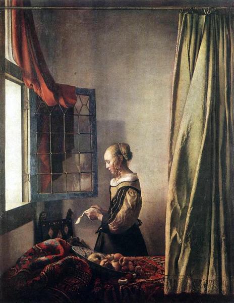 Johannes Vermeer, Girl Reading a Letter at an Open Window, 1658, Gemäldegalerie, Dresden. Wiki Commons.