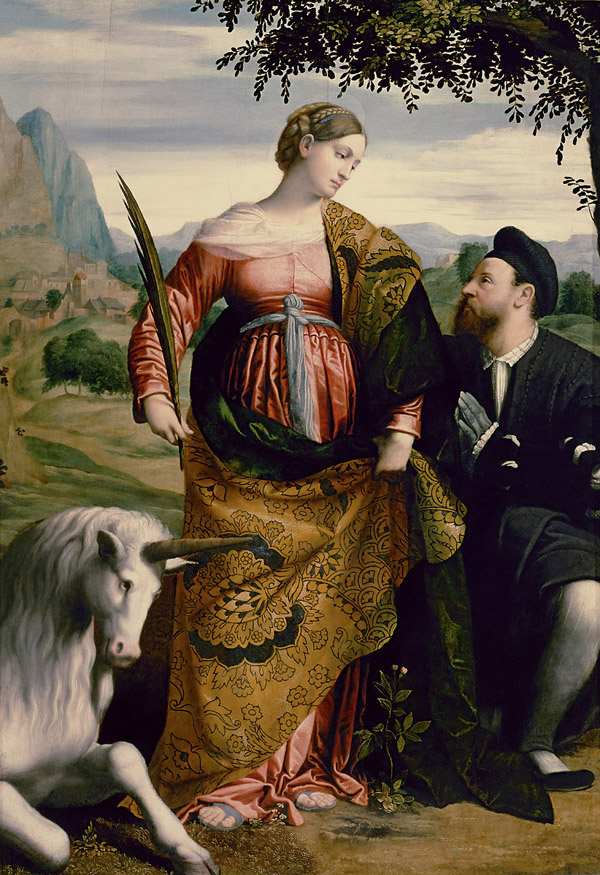 Saint Justine with the Unicorn, Moretto da Brescia, c.1530-1534, Oil on panel, Kunsthistorisches Museum, Vienna, WikiCommons.