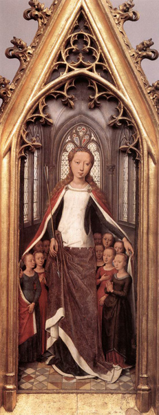 St. Ursula Protecting the Holy Virgins (panel detail from the St. Ursula Shrine), Hans Memling, 1489, Oil on wood, Memling Museum, Bruges, WikiCommons.