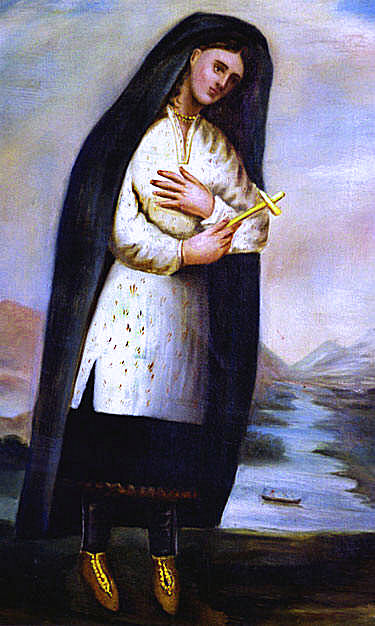 Blessed Kateri Tekakwitha, Claude Chauchetiere, c.1691, Sepia ink, unknown location. WikiCommons.