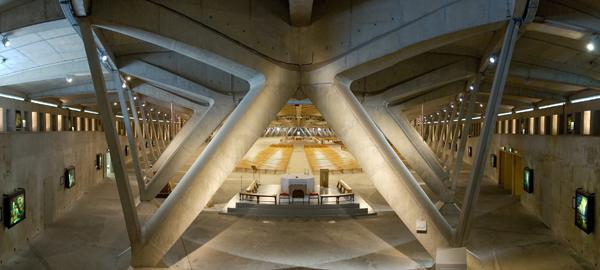 Interior of the Basilica of St. Pius X , Luc Viatour (Photographer), 2009, Lourdes, France, WikiCommons.