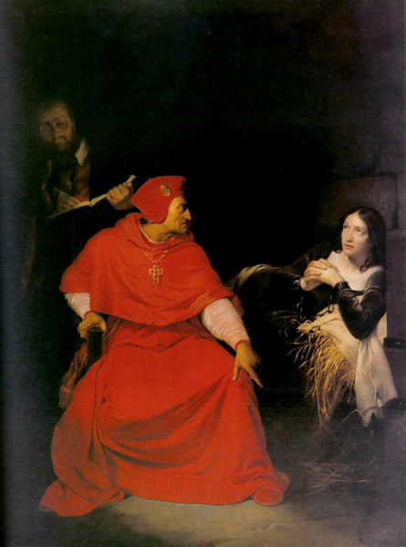 Joan Interrogated in her Prison Cell by Cardinal Winchester, Hippolyte Delaroche, 1824, Oil on canvas, Musée des Beaux-Arts, Rouen. WikiCommons.