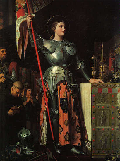 Joan at the coronation of Charles VII, Jean Auguste Dominique Ingres, 1854, Oil on canvas, Louvre Museum, Paris, WikiCommons.