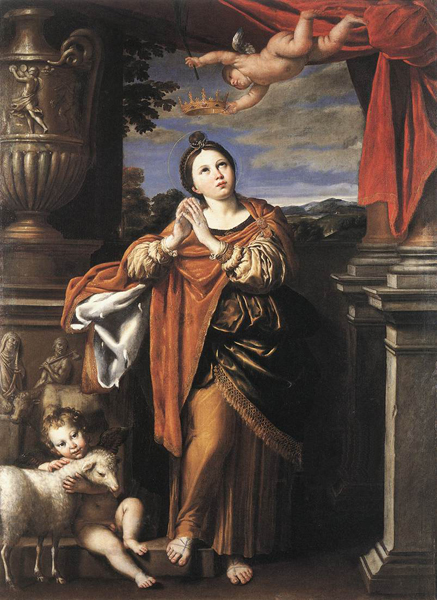 Saint Agnes, Domenichino, c.1620, Oil on canvas, Royal Collection, Windsor. WikiCommons.