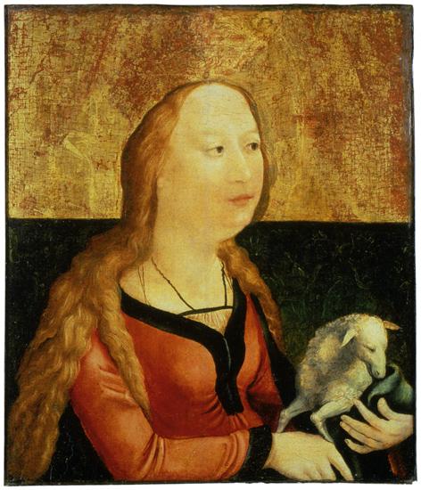 Saint Agnes of Rome (Coburg Panel), Matthias Grünewald, c.1500, Tempera on wood, Veste Coburg Castle, WikiCommons.