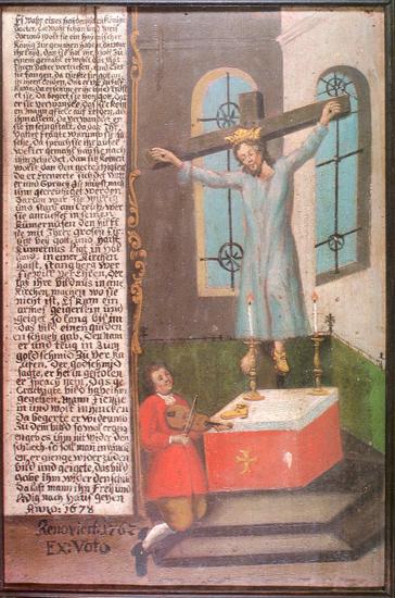 St. Kümmernis (1678), Tafel im Städtischen Museum Schwäbisch Gmünd Source: Peter Spranger, Der Geiger von Gmünd, ²1991, p. 25, WikiCommons.
