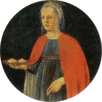 Sant'Agata, Pierro della Francesca, c.1460-1470 from Book: B. Laskowski, Piero della Francesca, Gribaudo, WikiCommons