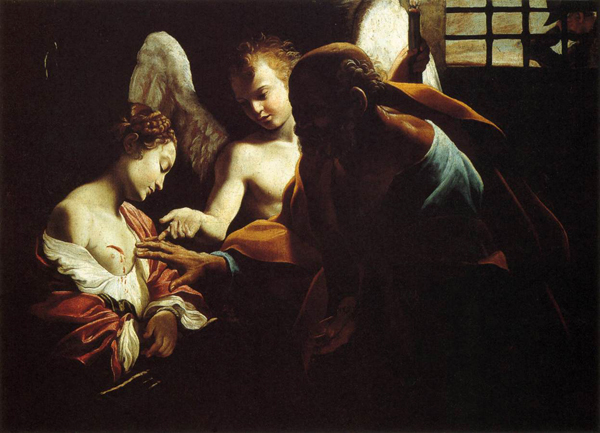 St. Peter Healing St. Agatha, Giovanni Lanfranco, c. 1614, Oil on canvas, Galleria Nazionale, Parma. WikiCommons.