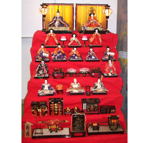 Altar full hina matsuri display