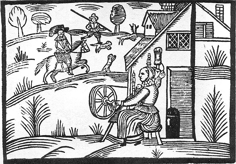 Woodcut of a woman spinning at the time of the English Civil War.