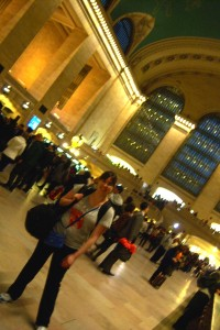 Tiffany in Grand Central Station, on her way home!