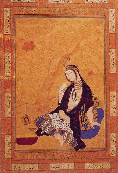Girl Smoking. Muhammad Qasim, Isfahan, 17th century. WikiCommons. Illustrated Girls by Girl Museum