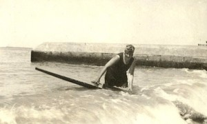 Agatha Christie surfing.  Image credit: SurferToday.com