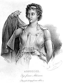 Agnodice dressed in all white with darker clothing as a part of her disguise as a male physician. Image from Wikipedia.