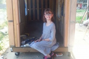 Hailey working on a mobile homeless shelter.