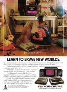 In this ad for Atari, a young girl and her dog play video games.