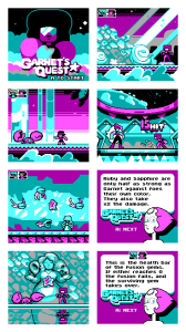 "This is a series of mockups for a Steven Universe game called ""Garnet's Quest."""