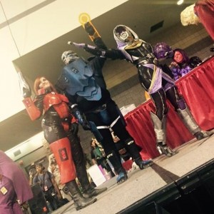 Lexi winning the HeroesCon 2015 costuming contest with her friend and fiancé, all in Mass Effect cosplays.