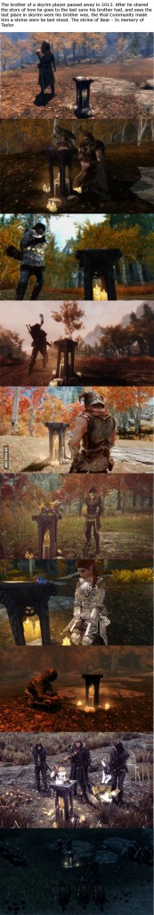 In 2013, an Elder Scrolls Online player died.  His brother loaded the player's last save point and told the community.  Other players erected an in-game memorial at the save point and visited it to pay their respects. Source: www.9gag.com.