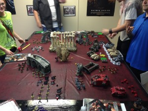 Warhammer40k being played at a game store.  Source: Tiffany Rhoades.
