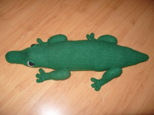 One of Emily's many creations–a knitted crocodile.