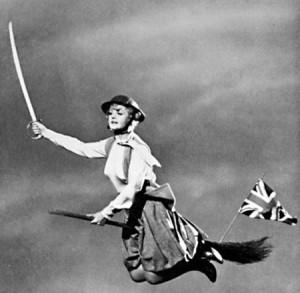 Screenshot of Angela Lansbury as Miss Price in Bedknobs and Broomsticks.