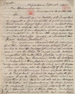 Sarah Hale's letter to President Lincoln. Wikimedia Commons.