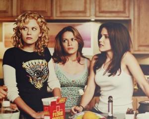 Screen shot from One Tree Hill. Hilarie Burton as Peyton, Bethany Joy Lenz as Haley, and Sophia Bush as Brooke.