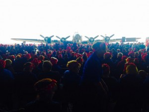 Thousands of Rosies gathered in the airplane hangar for the Guinness World Record.