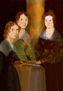 Branwell Bronte's  painting of his three sisters, Anne, Emily, and Charlotte (L-R). He painted himself out of the portrait. https://en.wikipedia.org/wiki/Branwell_Brontë