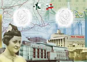 Elisabeth Scott, architect of the Shakespeare Memorial Theatre in Stratford, is one of only two women in the new passport. Image from BBC.