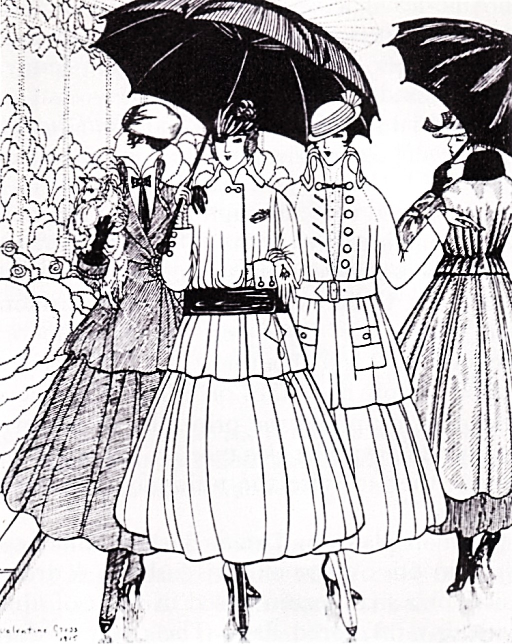 Figure Four: Illustration of French fashion c.1915. Illustration of French fashion c.1915. B/W scan of original B/W illustration. © .