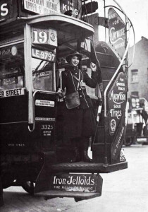 Tram conductress - a 'Clippie'.  Photo uploaded by Paul Townsen on Flickr.