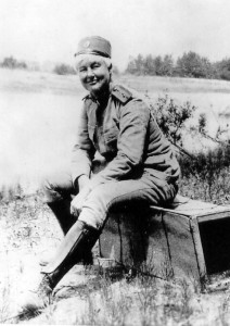 Flora Sandes in uniform, about 1918. Via Wikimedia Commons.