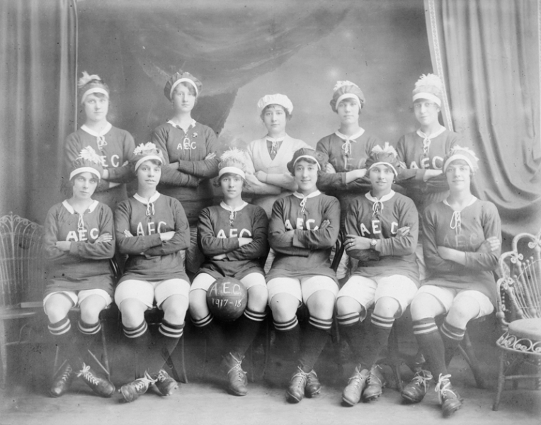 Women munitions workers' football team from the AEC Munitions Factory at Beckton, London. HU 70114, Imperial War Museum, UK.