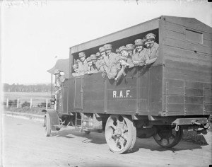 The Women's Royal Air Force during the First World War. Members of the Women's Royal Air Force (WRAF) on board an RAF lorry circa 1918, WikiCommons.