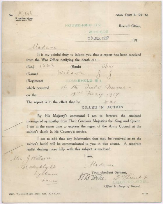 The next-of-kin of a soldier was usually informed of his death by a letter, Army form B104-82.