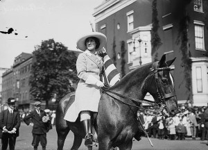 Inez Milholland Boissevain at a women's suffrage parade in New York City, May 3, 1913.