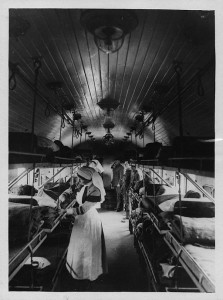 Interior of a ward on a British Ambulance Train in France, via the National Library of Scotland.