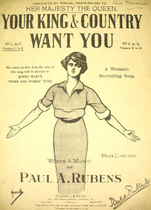 Original 1914 sheet music for 'Your King and Country Want You'- a popular recruitment song in Britain at the beginning of WWI, WikiCommons.