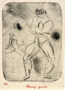 Etching on paper by Walt Kuhn.
